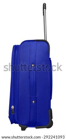 Blue journey suitcase isolated on white. Clipping path included. - stock photo