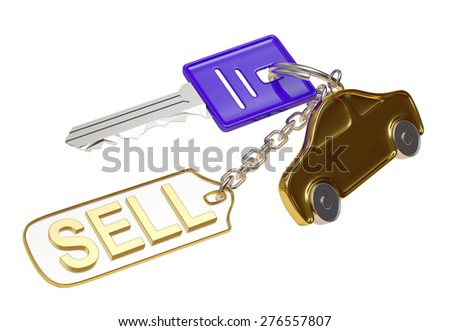 Blue key with golden car figure and metal label with word SELL isolated on white background - stock photo