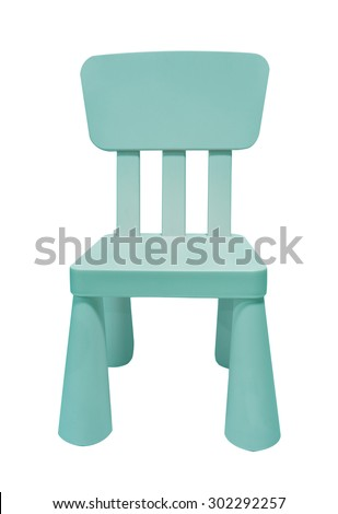 blue kids plastic chair isolated on white background - stock photo