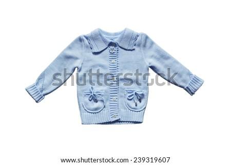 Blue knitted baby jacket on white background - stock photo