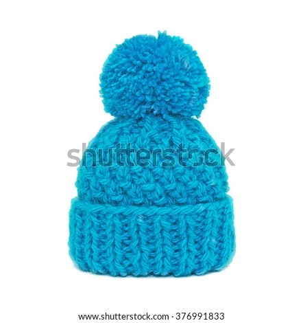 Blue knitted hat - stock photo