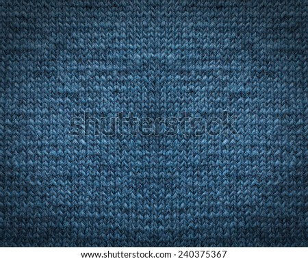 Blue knitting wool texture background. - stock photo