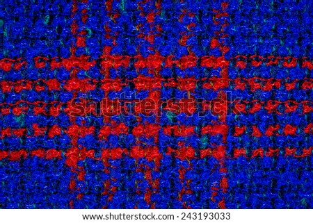 Blue knitting wool with red stripes texture background. - stock photo