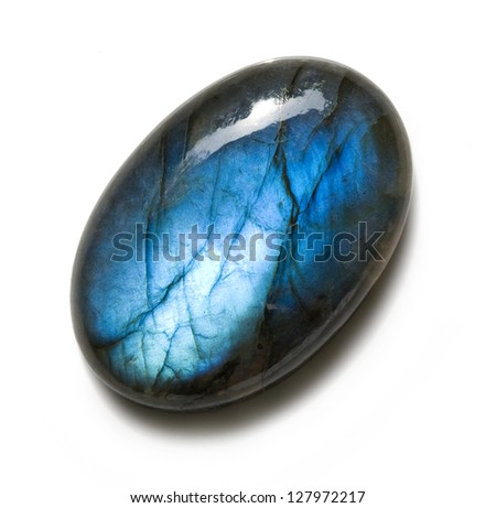 Blue labradorite isolated on white background - stock photo