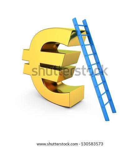 Blue ladder on the high euro symbol - stock photo