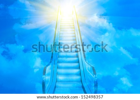 blue ladder to blue sky sunset - stock photo