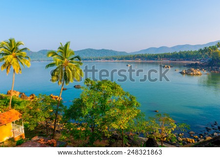 Blue Lagoon and the rising sun in Goa - stock photo