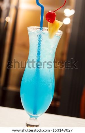 Blue Lagoon cocktail - stock photo