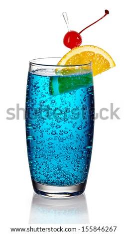 Blue lagoon cocktail on white background - stock photo