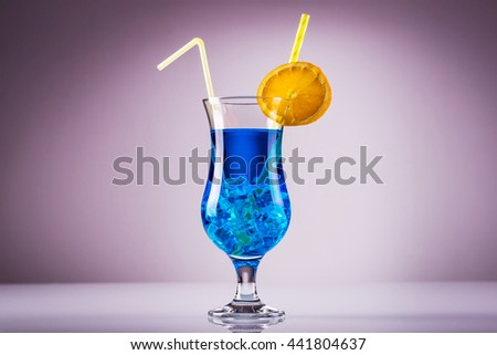 Blue lagoon cocktail; popular summer light alcoholic cocktail featuring blue curacao - stock photo
