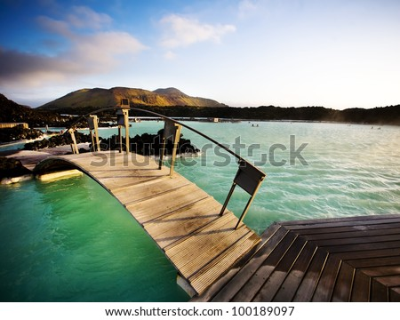Blue Lagoon geothermal baths at sunset, Iceland - stock photo