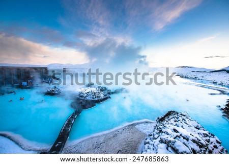 Blue lagoon hot spring spa. one of main tourist attraction in Reykjavik, Iceland - stock photo