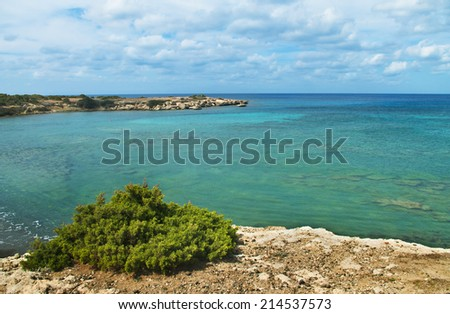 blue lagoon on akamas peninsula, cyprus - stock photo