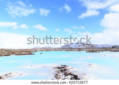 Blue Lagoon waters in the lava, Iceland. - stock photo