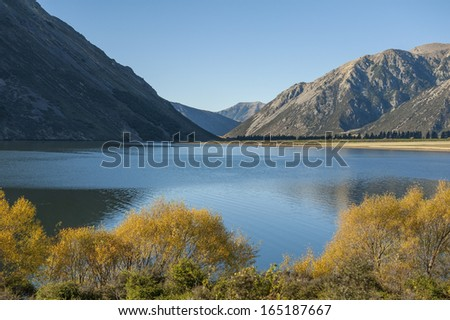 Blue lake in Newzealand - stock photo