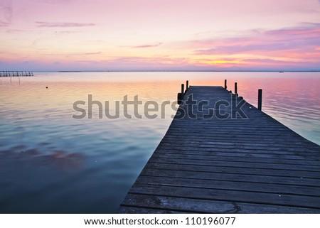 Blue Lake Pier - stock photo