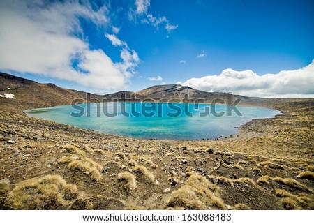 Blue lake, Tongariro national park, New Zealand - stock photo
