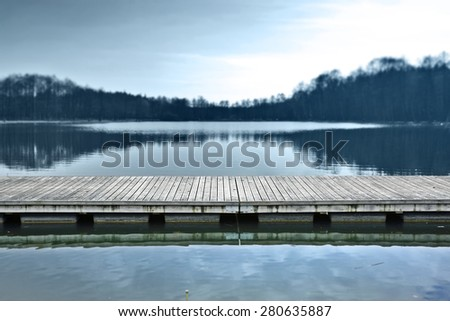 blue landscape of pier at morning  - stock photo