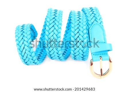Blue leather belt, isolated on white - stock photo