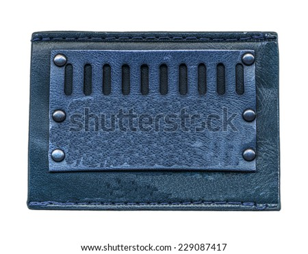 blue leather label isolated on white  - stock photo