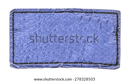 blue leather label isolated on white background - stock photo