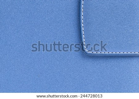 Blue leather notebook background texture - stock photo