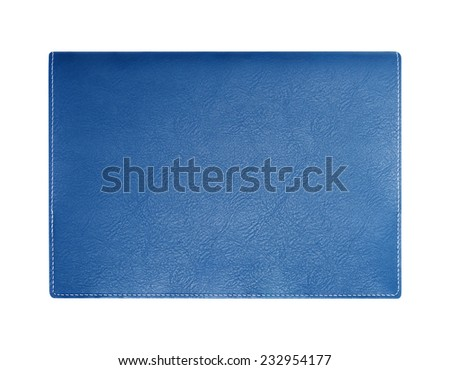 Blue leather notebook cover isolated on white background - stock photo