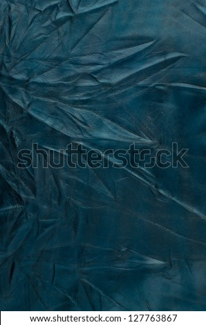 Blue leather texture closeup detailed background. - stock photo