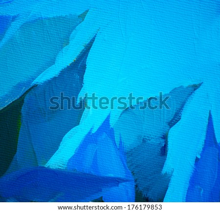 blue leaves and sky, painting by oil on a canvas,  illustration - stock photo