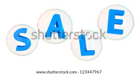 Blue letters sale in soap bubbles - stock photo