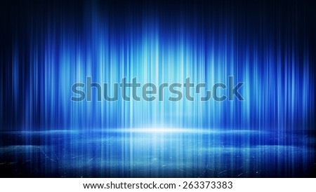 blue light lines and reflection. computer generated abstract background  - stock photo