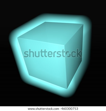 Blue lighting cube over black background, 3d rendering - stock photo