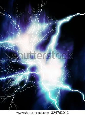 Blue lightning - stock photo
