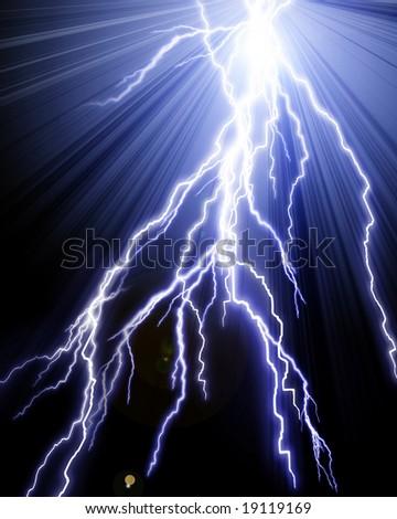 Blue lightning flash on a black sky - stock photo