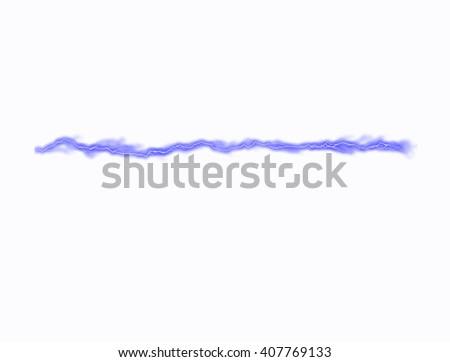 Blue lightning on white background - stock photo