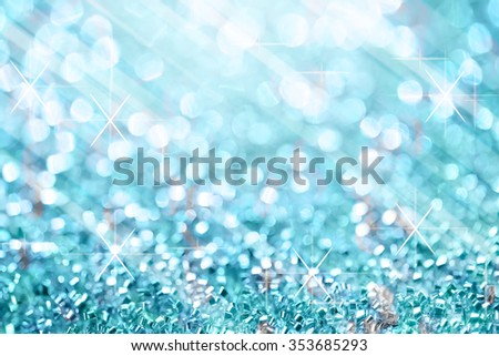 Blue lights festive blurry and star on white bokeh abstract christmas twinkled bright background. - stock photo
