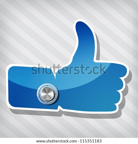 "blue ""Like"" symbol with Chrome volume knob on a stripped background - stock photo"