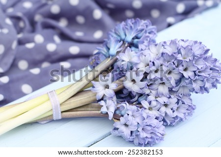 Blue lilac hyacinthtied with ribbon  on wooden pale duck egg blue painted wooden boards ,spotty periwinkle fabric in background, pretty spring image , shallow depth of field , mothers day - stock photo
