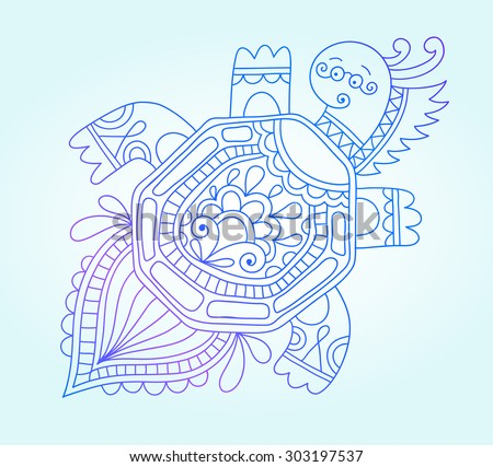 blue line drawing of sea monster, underwater decorative tortoise, graphic design element for print or web, raster version - stock photo