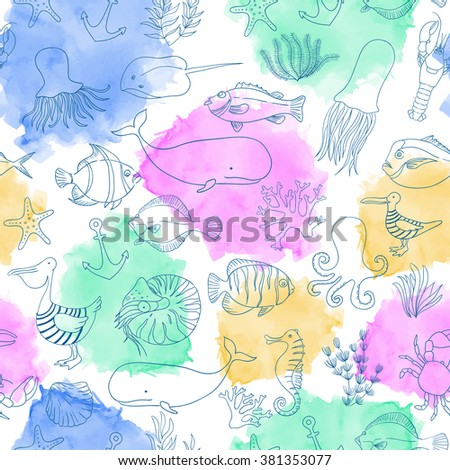 Blue linear seamless pattern. Sea animals illustration. Watercolor background. Linear  nautical illustration. Colorful stains. Fish, pelicans, jellyfish, whales, manta rays, octopus, seahorse.  - stock photo