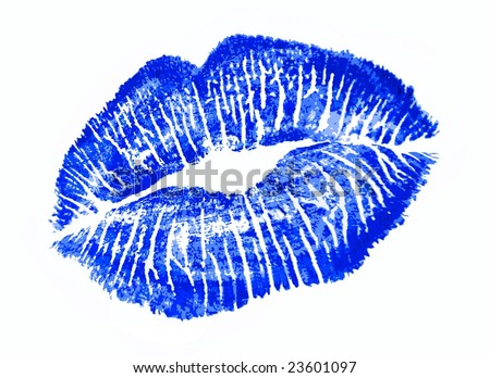 Blue lip print - stock photo