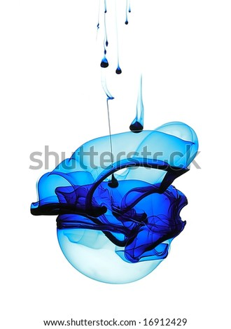 Blue liquid in water making abstract forms - stock photo