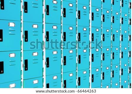 blue lockers - stock photo