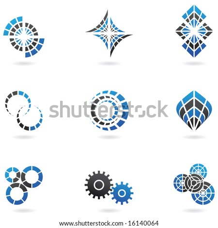 Blue Logos to go with your company name (set of 9) - stock photo