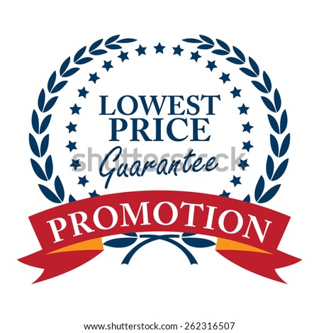Blue Lowest Price Guarantee Promotion Wheat Laurel Wreath, Ribbon, Label, Sticker or Icon Isolated on White Background - stock photo