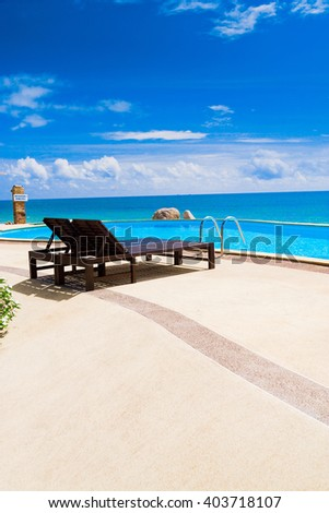 Blue Luxury Romantic Villa  - stock photo