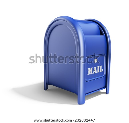 Blue mail box. 3D Icon isolated on white background - stock photo