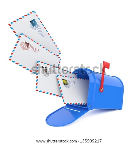 Blue Mailbox with Letters. - stock photo