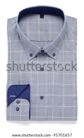 blue man's folded shirt - stock photo