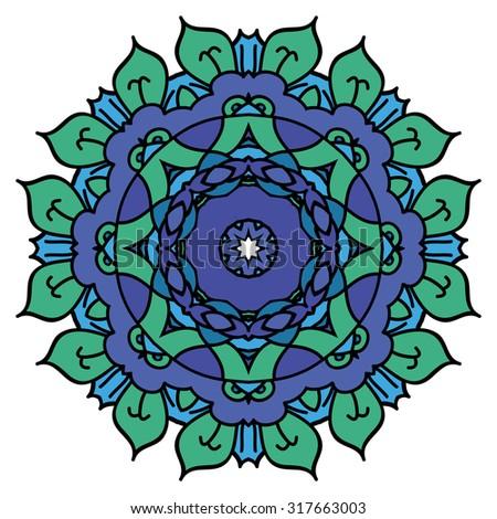 Blue mandala. Isolated round element.  - stock photo